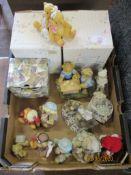 Box containing ornamental Teddies