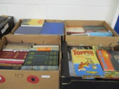FOUR BOXES OF VARIOUS HARDBACK BOOKS INCLUDING TOPPER ANNUAL 1970, TV INTEREST, REFERENCE ETC
