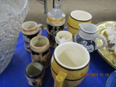 QUANTITY OF VARIOUS JUGS INCLUDING MINIATURE STEINS ETC