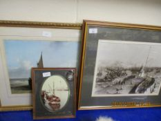 THREE VARIOUS FRAMED PICTURES, ALL COASTAL INTEREST, LARGEST FRAME SIZE APPROX 59 X 50CM