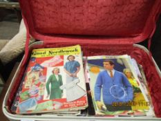 VINTAGE SUITCASE CONTAINING A QUANTITY OF VARIOUS VINTAGE NEEDLEWORK AND SEWING MAGAZINES