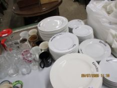 GASCHES PART DINNER SERVICE, DRINKING GLASSES, MUGS ETC
