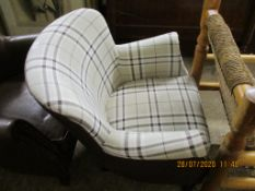 MODERN CHECK UPHOLSTERED TUB CHAIR, HEIGHT APPROX 80CM