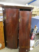 GEORGIAN BOW FRONTED CORNER CABINET (A/F), 96CM WIDE X 145CM HIGH
