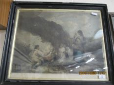 "COLOURED PRINT AFTER MORLAND ""THE FERN GATHERERS"""
