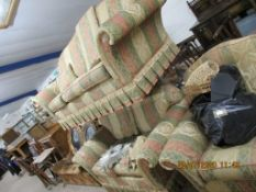 MODERN THREE PIECE SUITE COMPRISING TWO SEATER, THREE SEATER SOFAS AND MATCHING EASY CHAIR