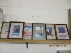 SELECTION OF SIX FRAMED REPRODUCTION POSTCARD SIZE OF WWII PROPAGANDA POSTERS