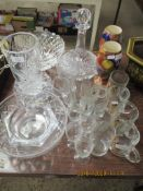 QUANTITY OF VARIOUS GLASS INCLUDING SHIP'S DECANTER, PAIR OF FLORAL DECORATED SMALL VASES