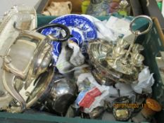 LARGE QUANTITY OF VARIOUS PLATED ITEMS INCLUDING TEA POTS, EGG CUPS, SHEFFIELD PLATE SALTS, TOGETHER