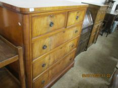LATE 19TH CENTURY WALNUT CHEST OF TWO SHORT OVER THREE LONG DRAWERS, WIDTH APPROX 119CM