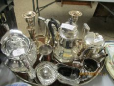 PLATED GALLERY TRAY CONTAINING A SELECTION OF VARIOUS OTHER PLATED WARES INCLUDING CANDLESTICKS, TEA