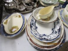 QUANTITY OF VARIOUS OVAL MEAT PLATES AND OTHER CERAMICS INCLUDING ALFRED MEAKIN ETC