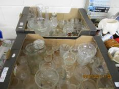 TWO BOXES VARIOUS GLASSWARE INCLUDING DRINKING GLASSES, TUREENS, SIFTER ETC