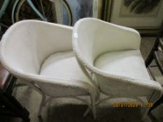 PAIR OF UPHOLSTERED LLOYD LOOM STYLE PAINTED BEDROOM CHAIRS