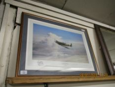 """FRAMED MILITARY/RAF INTEREST PRINT """"REACH FOR THE SKIES"""", AFTER ROBERT TAYLOR, DEPICTING GROUP"""