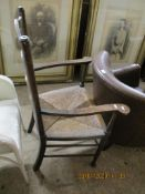 ARTS & CRAFTS STYLE OAK LADDER BACK CHAIR WITH RUSH SEAT, APPROX 104CM HIGH