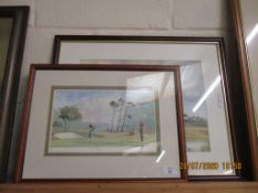 "GOLF INTEREST PRINT, ""THE BIRDIE"", APPROX 18 X 30CM NUMBERED AND SIGNED IN PENCIL TO MARGIN,"