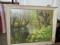 FRAMED OIL ON CANVAS DEPICTING A RIVER LANDSCAPE, APPROX 70 X 90CM