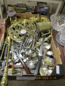 BOX CONTAINING LARGE QUANTITY OF VARIOUS CUTLERY, TOASTING FORK, CANDLE SNUFFER, VARIOUS OTHER BRASS