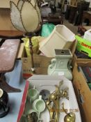 QUANTITY OF VARIOUS CLEARANCE ITEMS INCLUDING BRASS LAMP FITTINGS, DECORATIVE CERAMICS ETC