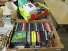 THREE BOXES OF VARIOUS DVDS, CDS, ELECTRONIC ACCESSORIES ETC