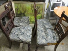 SET OF FOUR DECORATIVELY CARVED UPHOLSTERED DINING CHAIRS, HEIGHT 93CM