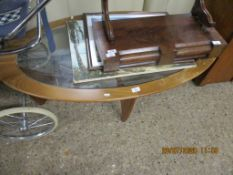 OVAL GLASS TOP COFFEE TABLE, LENGTH APPROX 125CM
