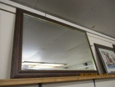 WOOD FRAMED OVERMANTEL MIRROR, TOTAL SIZE APPROX 92CM X 62CM