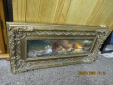 LARGE FRAMED OIL ON BOARD CONTAINED WITHIN AN ORNATE FRAME DEPICTING A SEA BATTLE, WIDTH INCLUDING