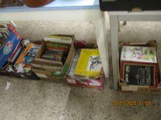 SIX BOXES OF VARIOUS VINTAGE MAGAZINES, HARDBACK BOOKS ETC