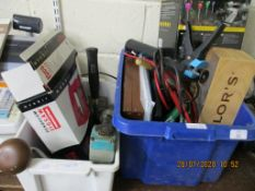 TWO BOXES CONTAINING ASSORTED TOOLS AND GARAGE CLEARANCE INCLUDING JUMP LEADS ETC