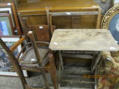 RUSTIC FOLDING TABLE TOGETHER WITH TWO CHAIRS AND A CLOTHES RAIL