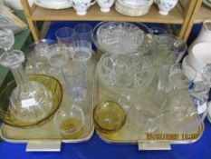 TWO TRAYS CONTAINING VARIOUS GLASS WARES INCLUDING DECANTERS ETC