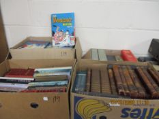 FOUR BOXES CONTAINING MIXED HARDBACK BOOKS INCLUDING WAGNER RING CYCLE, VARIOUS REFERENCE,