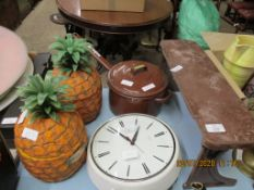 PAIR OF PINEAPPLE SHAPED ICE BUCKETS (BRITVIC) TOGETHER WITH A HEAVY SAUCEPAN AND KITCHEN CLOCK ETC