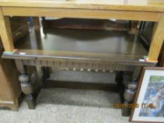 HEAVILY CARVED REPRODUCTION EXTENDING DINING TABLE, LENGTH APPROX 136CM