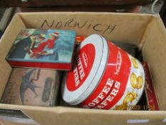 BOX CONTAINING QUANTITY OF MIXED TINS, 1960S AND LATER