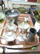 TRAY CONTAINING MIXED SILVER PLATED ITEMS ETC
