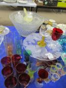 PUNCH BOWL WITH GLASSES AND LADLE, TOGETHER WITH OTHER DECORATIVE AND COLOURED GLASS WARE