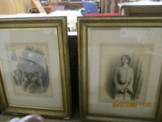 TWO LARGE VICTORIAN GILT FRAMED PORTRAIT PRINTS, FRAMES 97CM WIDE