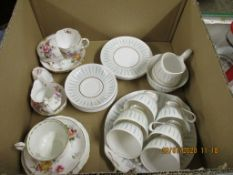 "LARGE BOX QUEEN ANNE ""CAPRICE"" PART TEA SERVICE, ROYAL ALBERT AND ROYAL CROWN DERBY TEA CUPS AND"