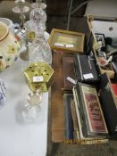 DECANTER TOGETHER WITH CANDLESTICKS ETC, AND AN ASSORTMENT OF VARIOUS SMALL BOOKS ETC