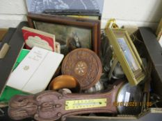 BOX CONTAINING QUANTITY OF VARIOUS CLEARANCE ITEMS INCLUDING BAROMETER, VARIOUS SMALL PICTURES ETC