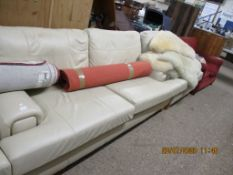 MATCHING LEATHER SOFA AND ARMCHAIR, THE SOFA LENGTH APPROX 216CM