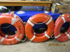 """SET OF SIX VINTAGE BOAT FENDERS/LIFE BELTS INSCRIBED """"PANAMAN BEST TRADER"""" ETC, ALL APPROX 78CM"""
