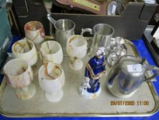 SELECTION OF VARIOUS PLATED ITEMS, FIGURE, GOBLETS ETC