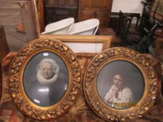 PAIR OF FRAMED PICTURES, EACH IN HEAVILY MOULDED OVAL FRAMES, APPROX 71 X 58CM