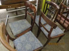 SET OF FOUR UPHOLSTERED DINING CHAIRS WITH FLUTED LEGS, APPROX HEIGHT 86CM