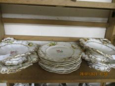 QUANTITY OF FLORAL AND GILT EARTHENWARE INCLUDING SERVING DISHES ETC