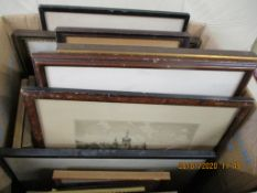 BOX CONTAINING QUANTITY OF VARIOUS FRAMED 19TH CENTURY AND LATER PRINTS INCLUDING RUSSIAN VILLAGE